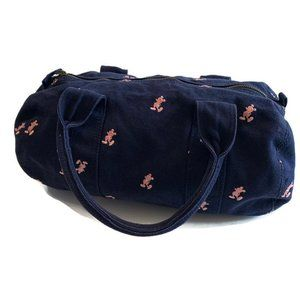 DISNEY Navy Canvas Embroidered Mickey Duffle Bag